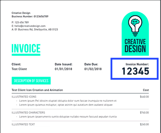 example of an invoice number on an invoice made with moneypenny invoice creator - Invocie