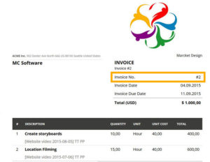 Invoice number generated in MoneyPenny