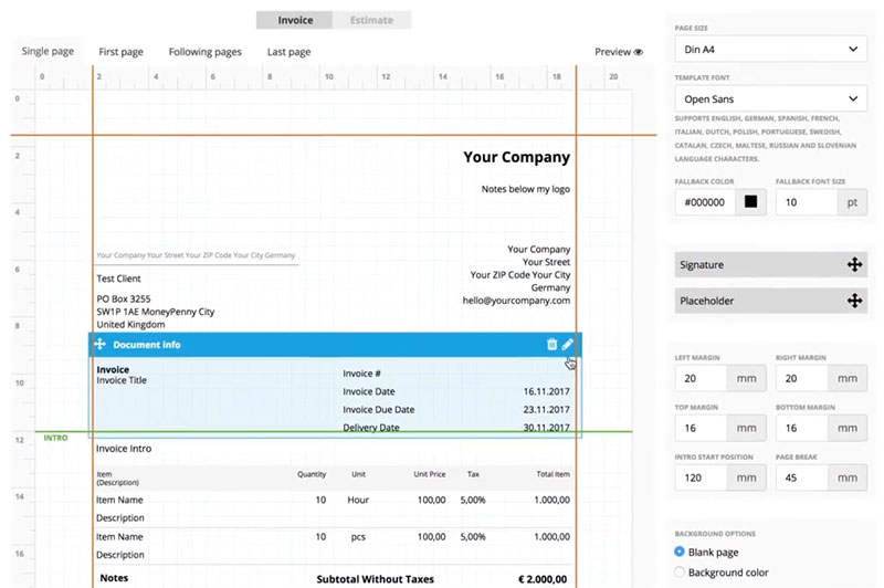 Create professional invoice templates